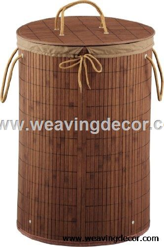 Bamboo collapsible laundry basket hamper