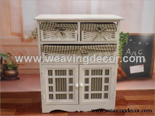 Beautiful Exquisite Wooden Storage Cabinet Wood Cabinet With Wicker Baskets  Specfication: