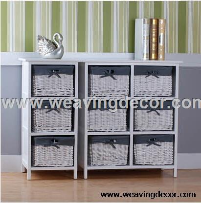 Wooden Storage Cabinet Wood With Wicker Baskets For Home Decor