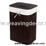 Collapsible bamboo laundry basket hamper
